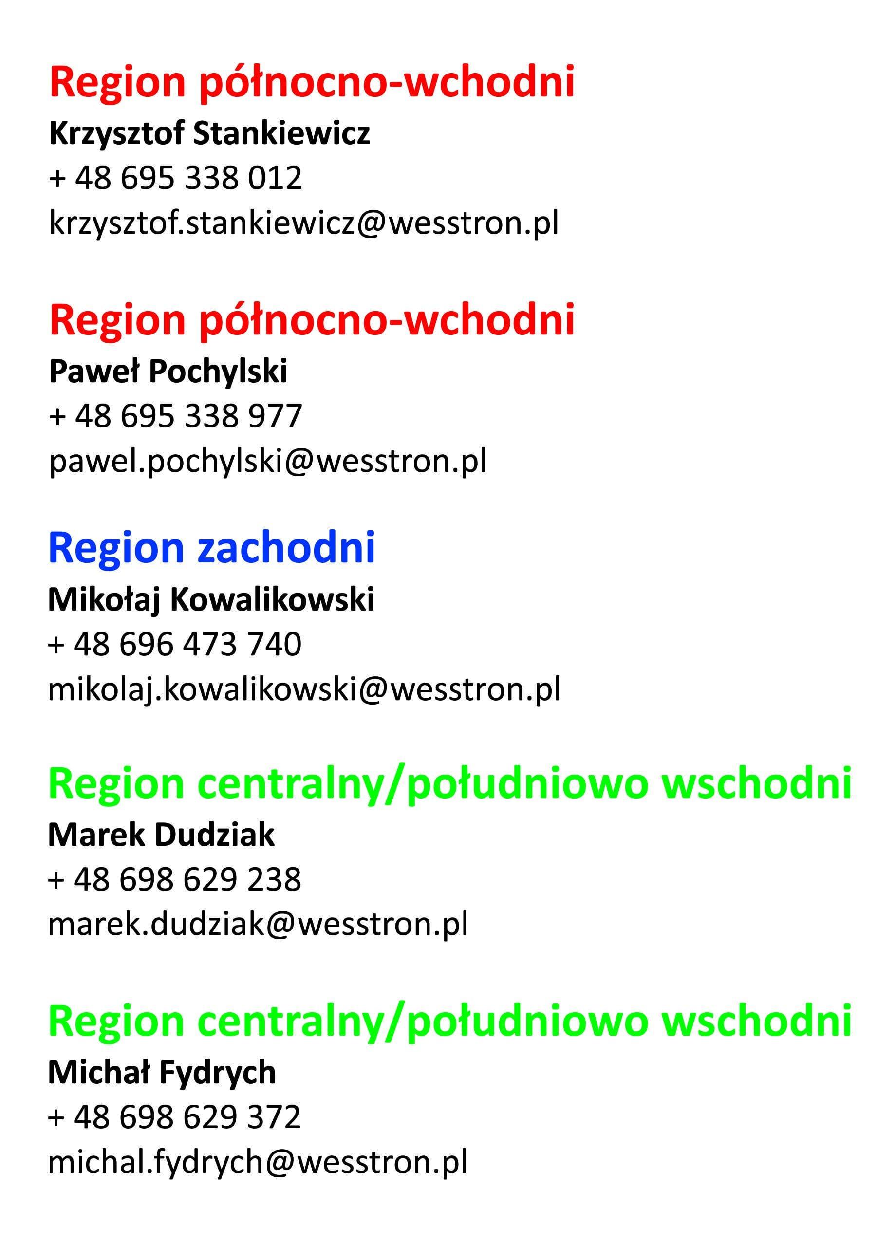 przedstawiciele handlowi Wesstron