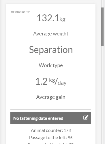 Application view - information about the weight
